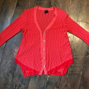 Anthro Left Of Center Coral Button Up Cardigan